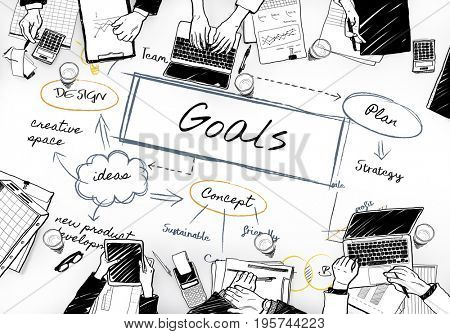 Goals diagram with people on a meeting table graphic