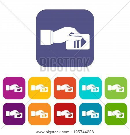Hand with parking ticket icons set vector illustration in flat style In colors red, blue, green and other