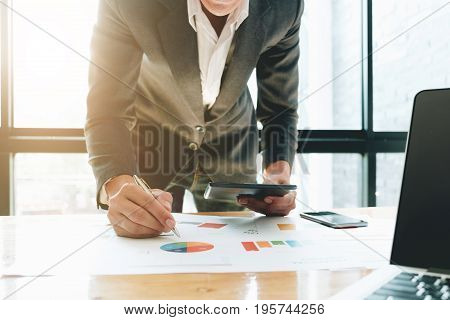 Business Documents On Office Table With Digital Tablet And Graph Business Diagram