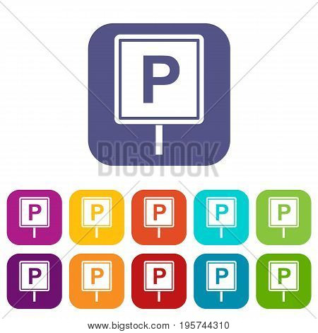 Parking sign icons set vector illustration in flat style In colors red, blue, green and other