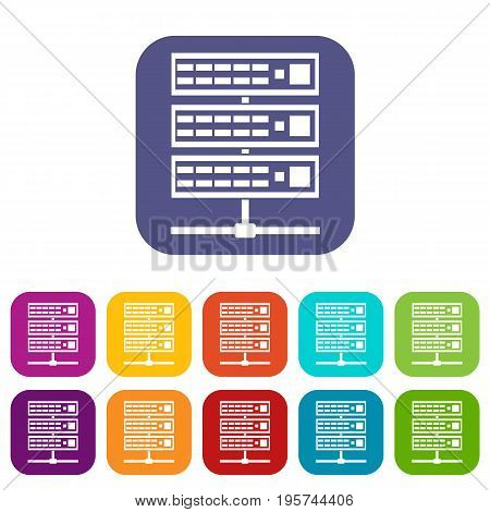 Servers icons set vector illustration in flat style In colors red, blue, green and other