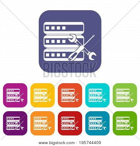 Database with screwdriver and spanner icons set vector illustration in flat style In colors red, blue, green and other