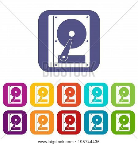 HDD icons set vector illustration in flat style In colors red, blue, green and other