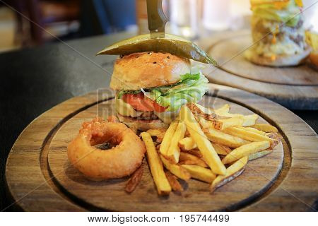 Fresh Delicious Burgers With Beef, Tomato, Cheese Big Tasty Burger On Wooden Table