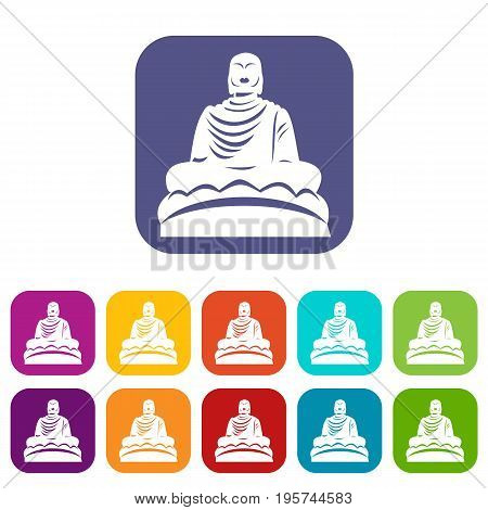 Buddha statue icons set vector illustration in flat style In colors red, blue, green and other