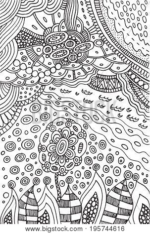 Coloring page with doodle flower and landscape - plants and sky. Vector zentangle illustration for adults or kids. Zendoodle vector art. Doodle cartoon fairy tales graphic art.