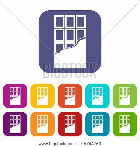 Chocolate bar icons set vector illustration in flat style In colors red, blue, green and other