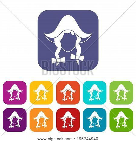 Girl dutch icons set vector illustration in flat style In colors red, blue, green and other