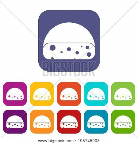 Dutch cheese icons set vector illustration in flat style In colors red, blue, green and other