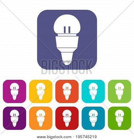 Reflector bulb icons set vector illustration in flat style In colors red, blue, green and other