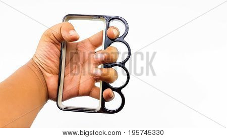Man Hand Wear Knuckle Ring Mobile Case