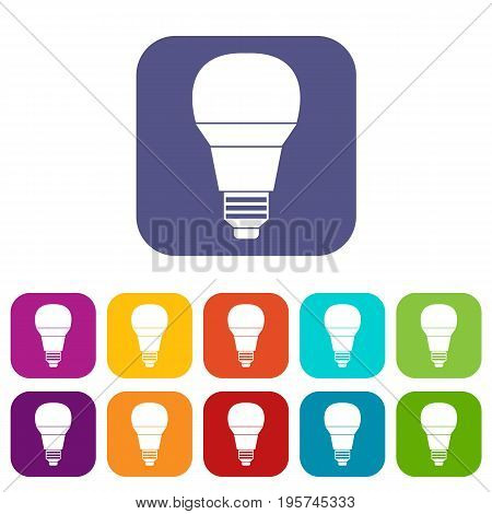 Glowing LED bulb icons set vector illustration in flat style In colors red, blue, green and other