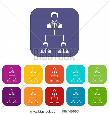 Company structure icons set vector illustration in flat style In colors red, blue, green and other