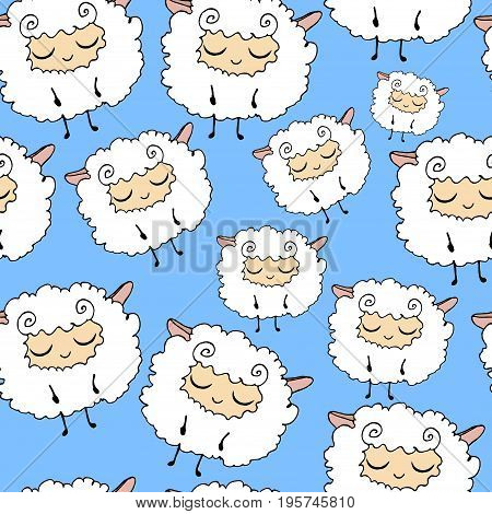 Sweet furry funny dream sheep. Seamless cartoon vector pattern. Graphics for web design textiles fabrics.
