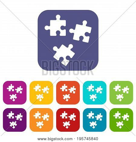 Puzzle icons set vector illustration in flat style In colors red, blue, green and other