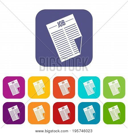 Newspaper with the headline Job icons set vector illustration in flat style In colors red, blue, green and other