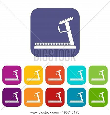 Treadmill icons set vector illustration in flat style In colors red, blue, green and other