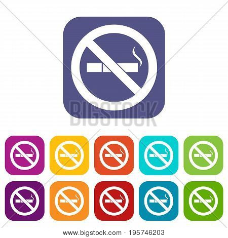 No smoking sign icons set vector illustration in flat style In colors red, blue, green and other