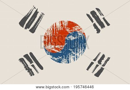 South Korea flag grunge style. South Korea brush strokes painted national country flag icon.