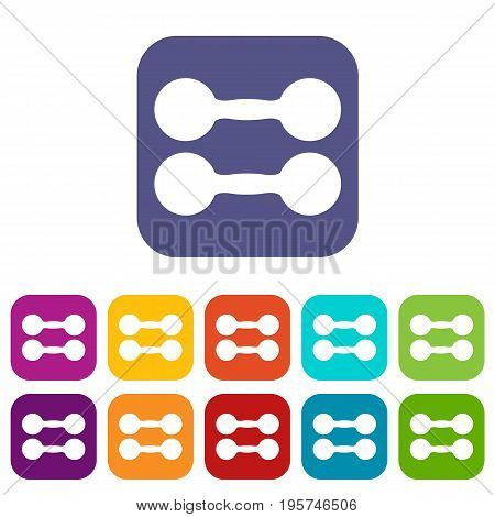 Pair of dumbbells icons set vector illustration in flat style In colors red, blue, green and other