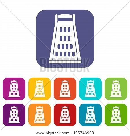 Kitchen grater icons set vector illustration in flat style In colors red, blue, green and other