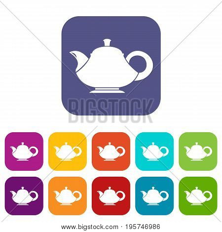 Teapot icons set vector illustration in flat style In colors red, blue, green and other
