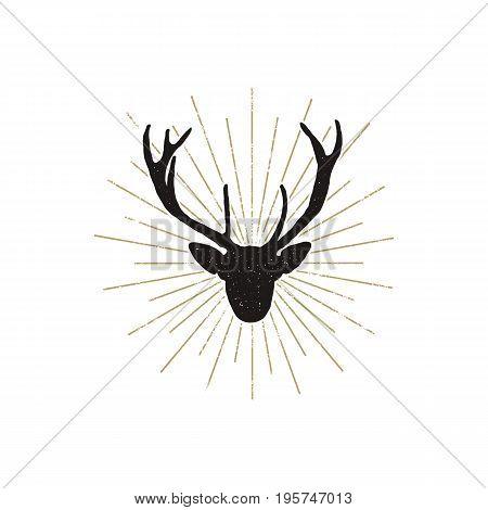 Deer shape with sunbursts. Silhouette animal design. Black wild animal isolated on white background. .