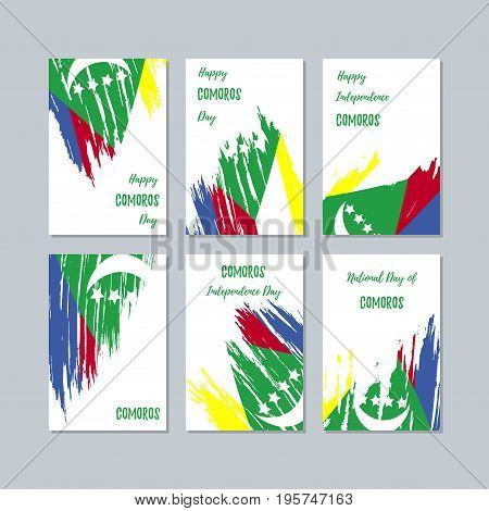 Comoros Patriotic Cards For National Day. Expressive Brush Stroke In National Flag Colors On White C