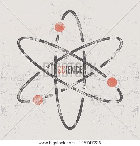 Vintage science poster and background with typography elements. Science background theme. Retro colors style. illustration of science background or old style poster.