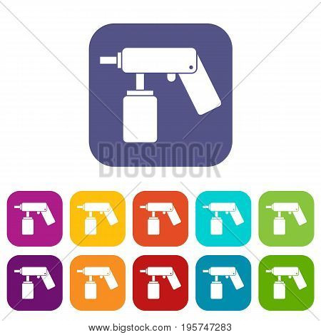 Spray aerosol can bottle with a nozzle icons set vector illustration in flat style In colors red, blue, green and other