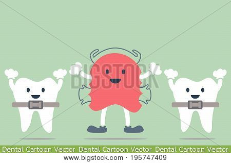 dental cartoon vector - orthodontic teeth retainer brace bracket and orthodontics teeth