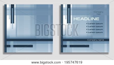 Geometric abstract background: empty and with example of text arrangement. Square template in bright blue and gray. Layout design for covers, brochures, posters, annual reports