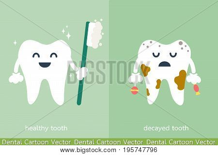 dental cartoon vector - healthy and decayed tooth