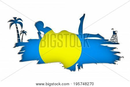 Young woman sunbathing on a beach. Cutout silhouette of the relaxing girl on a grunge brush stroke. Palm and lifeguard tower. Flag of the Palau on backdrop. 3D rendering.