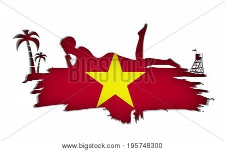 Young woman sunbathing on a beach. Cutout silhouette of the relaxing girl on a grunge brush stroke. Palm and lifeguard tower. Flag of the Vietnam on backdrop. 3D rendering.
