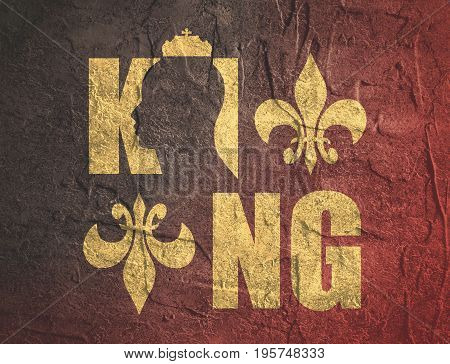 King logo. Royal luxury emblem. Face and crown icon. Business fantasy golden badge with King word. Grunge texture effect