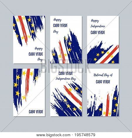 Cabo Verde Patriotic Cards For National Day. Expressive Brush Stroke In National Flag Colors On Whit