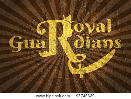 Royal crown logo. Business golden emblem with R letter and face silhouette. Grunge texture effect