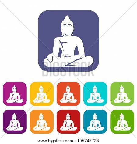 Statue of Buddha sitting in lotus pose icons set vector illustration in flat style In colors red, blue, green and other