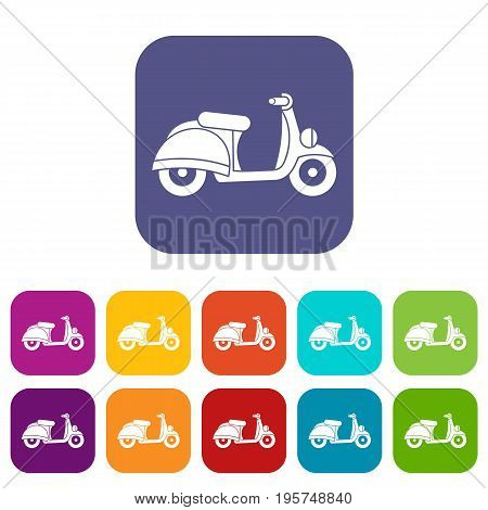 Motorbike icons set vector illustration in flat style In colors red, blue, green and other