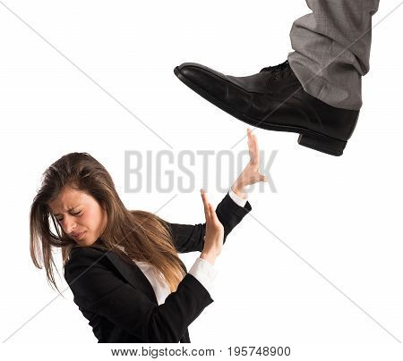 Aggressive boss with scared employee isolated on white background. Concept of overwork and mobbing