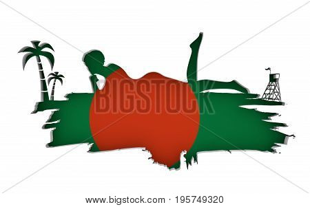 Young woman sunbathing on a beach. Cutout silhouette of the relaxing girl on a grunge brush stroke. Palm and lifeguard tower. Flag of the Bangladesh on backdrop. 3D rendering.