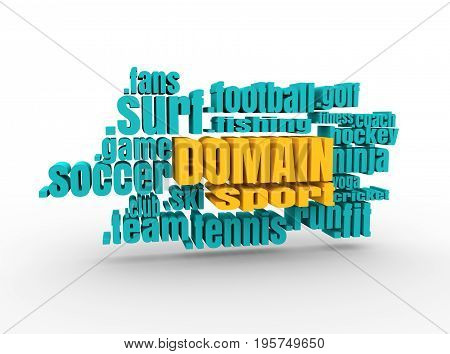 Domain names words cloud relative to sport theme. Internet and web telecommunication concept. 3D rendering