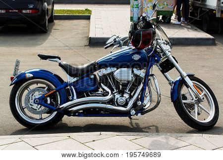 Vladivostok Russia - July 02 2017: The Harley Davidson motorcycle on the street of Vladivostok.