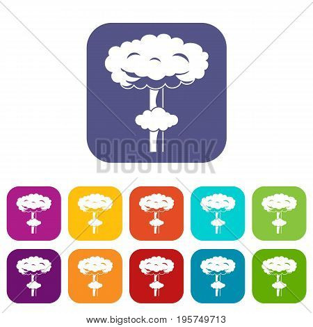 Nuclear explosion icons set vector illustration in flat style In colors red, blue, green and other