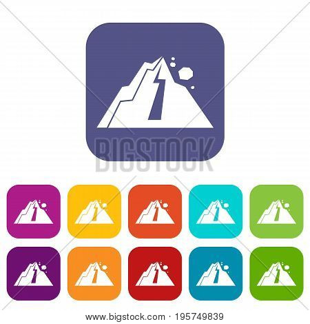 Rockfall icons set vector illustration in flat style In colors red, blue, green and other