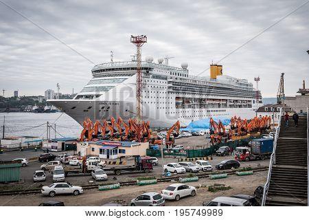 Vladivostok Russia - May 31 2017: Costa Victoria is a cruise ship in the port of Vladivostok.