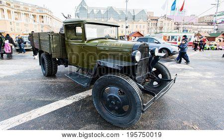 Vladivostok, Russia - February 23, 2013: Soviet truck GAZ AA