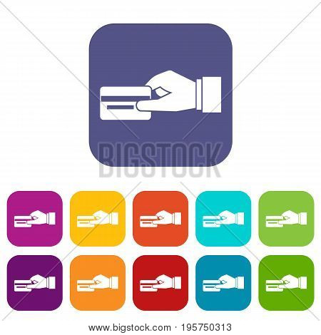 Hand holding a credit card icons set vector illustration in flat style In colors red, blue, green and other
