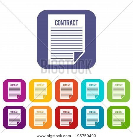 Contract icons set vector illustration in flat style In colors red, blue, green and other